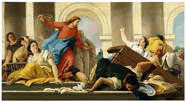 Jesus casting money changers from the temple
